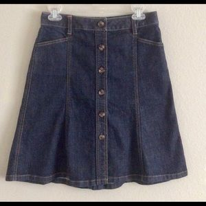 Ann Taylor   Denim Skirt A-Line Button Down